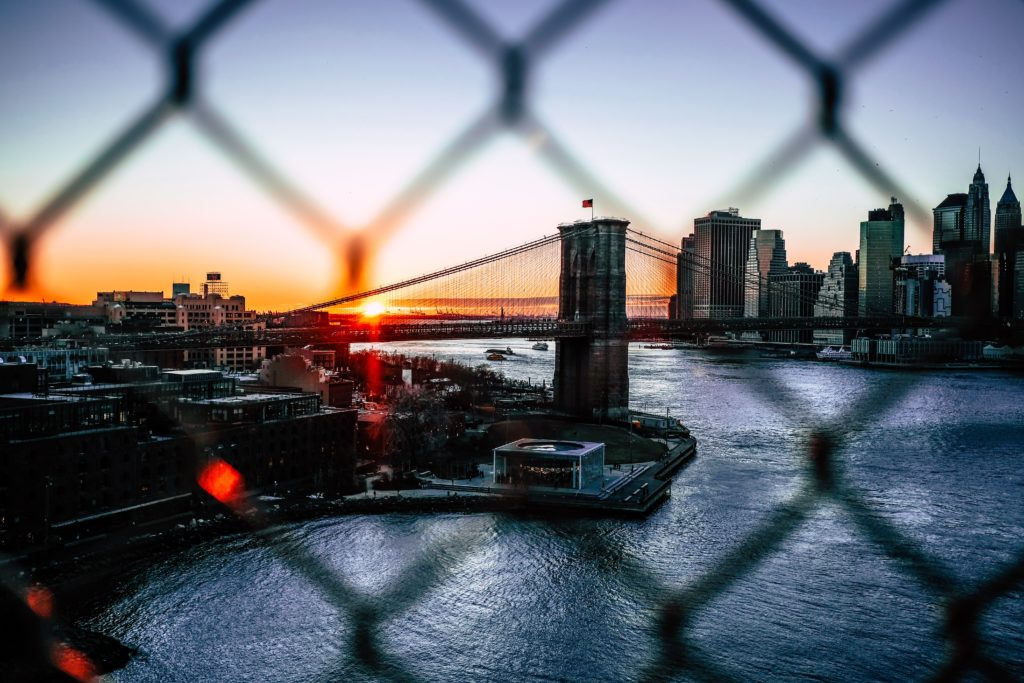 An image of New York City at sunset